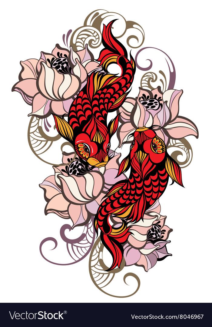 Japanese carps vector image