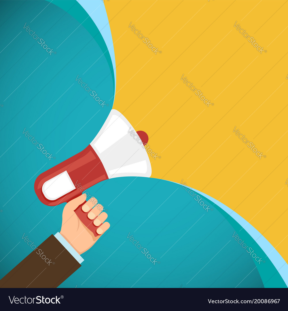Megaphone in human hand marketing and promotions
