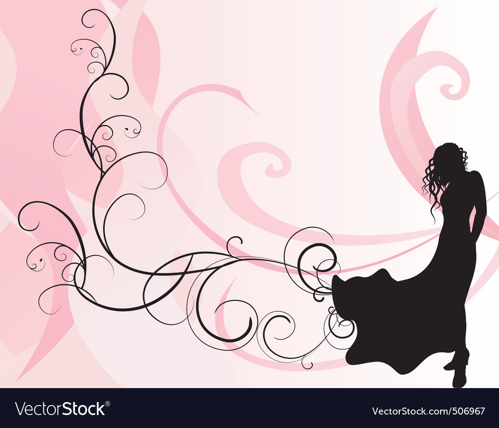 Pink background and long dress girl