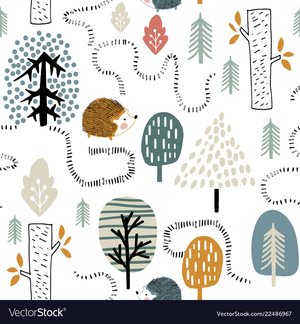 Semless woodland pattern with hedgehogs