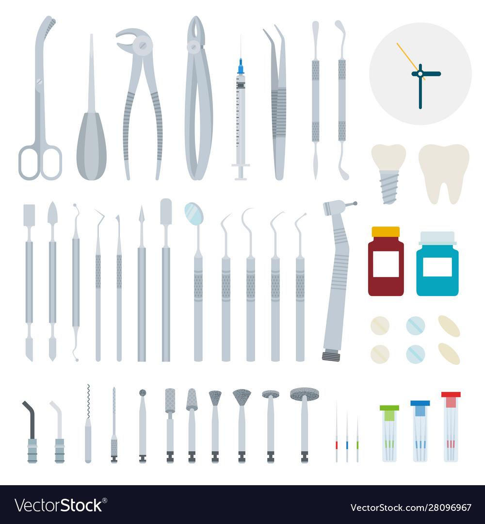 Set stomatology and dental tools flat