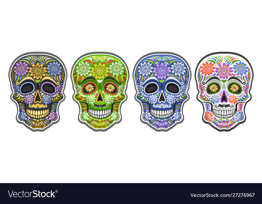 Set sugar skulls vector