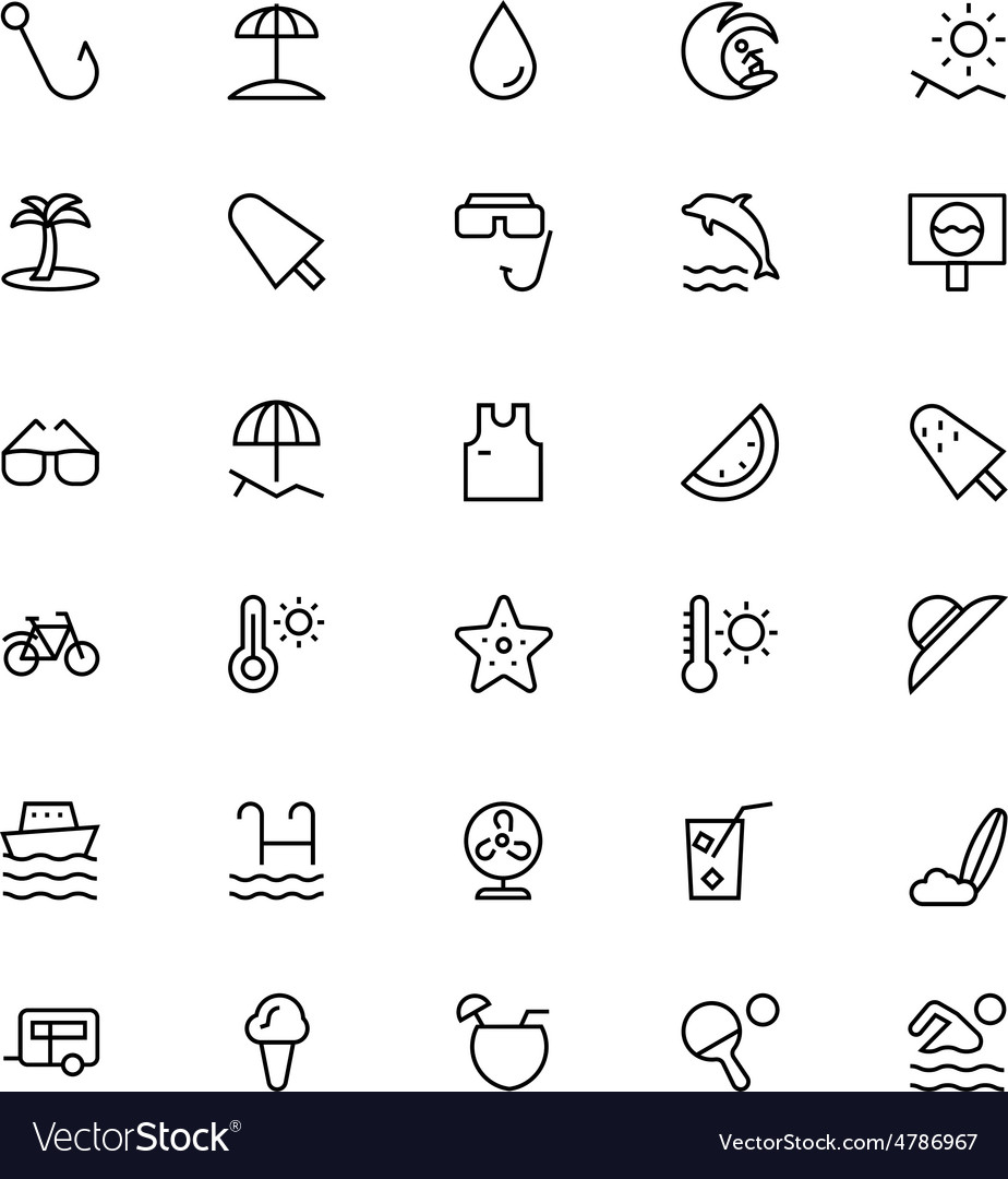 Summer and Beach Line Icons 2
