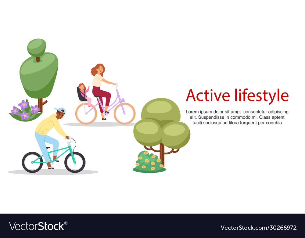 Active lifestyle people riding on bicycle