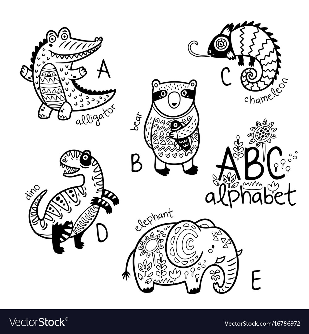 Animals alphabet a - e for children