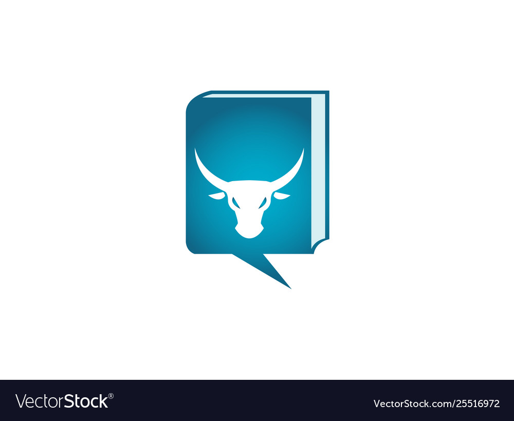 Bull head with angry face and big horns for logo