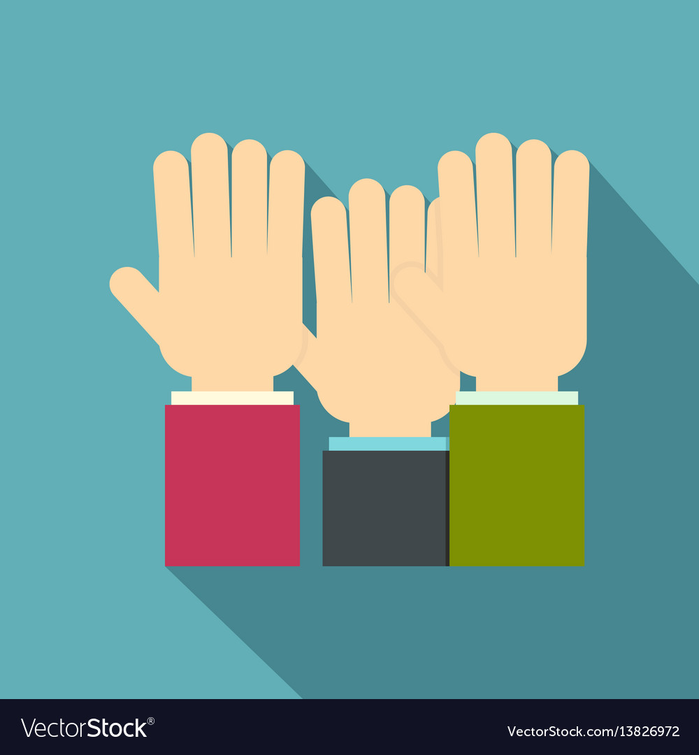 Businessmen hands up icon flat style