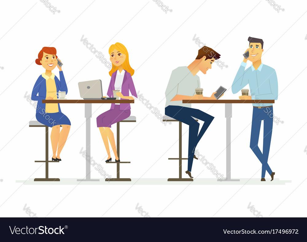 Collegues on a lunch break - modern cartoon people