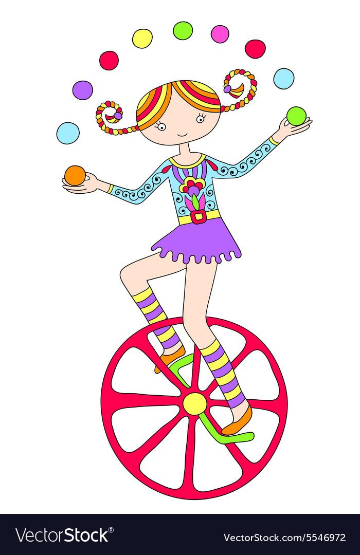 Line art drawing of circus theme - teenage girl vector image
