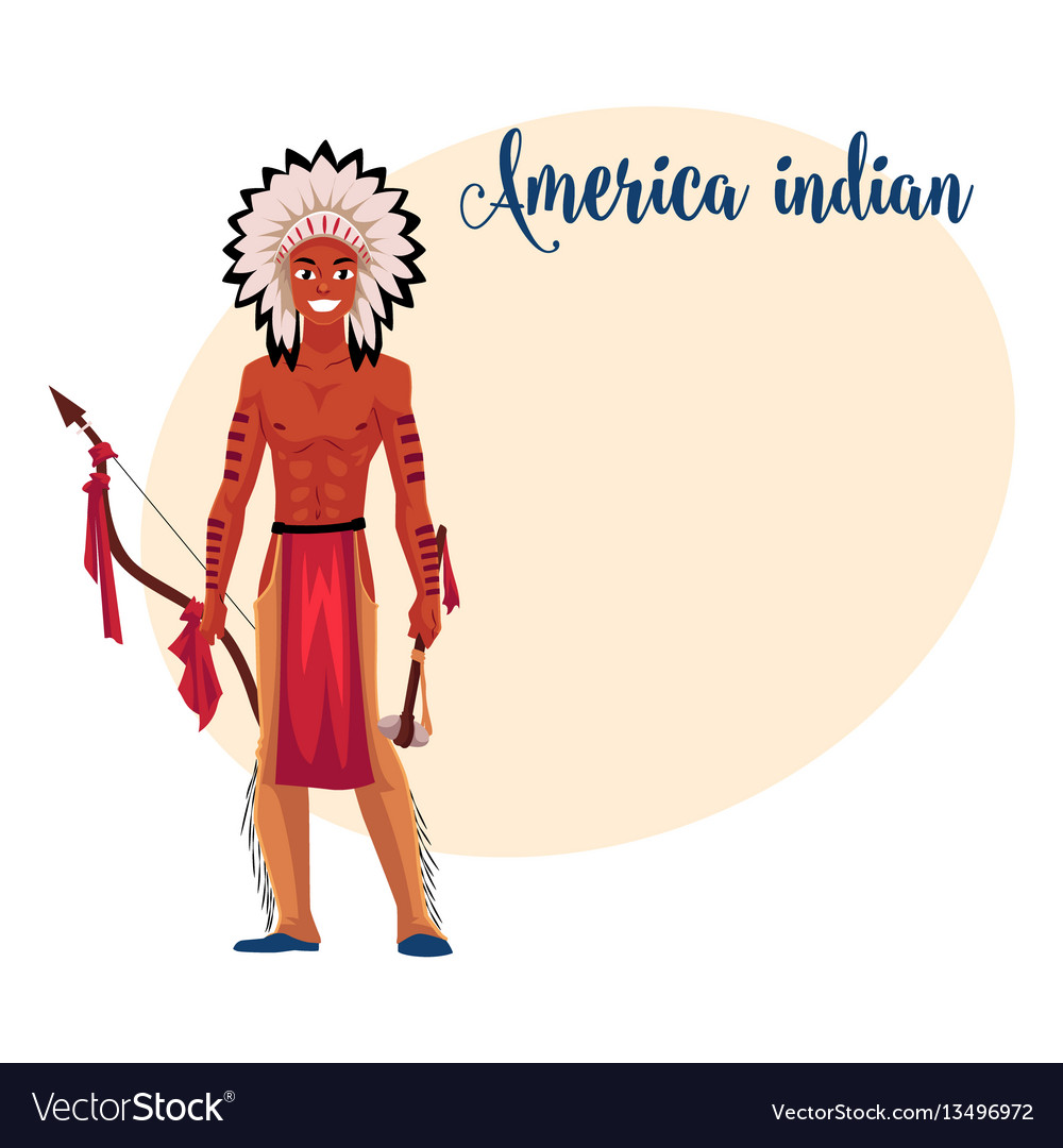 Native american indian man in feather headdress