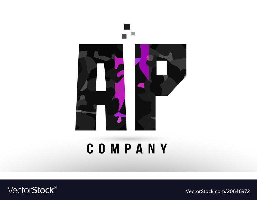 Purple Black Alphabet Letter Ap A P Logo Vector Image