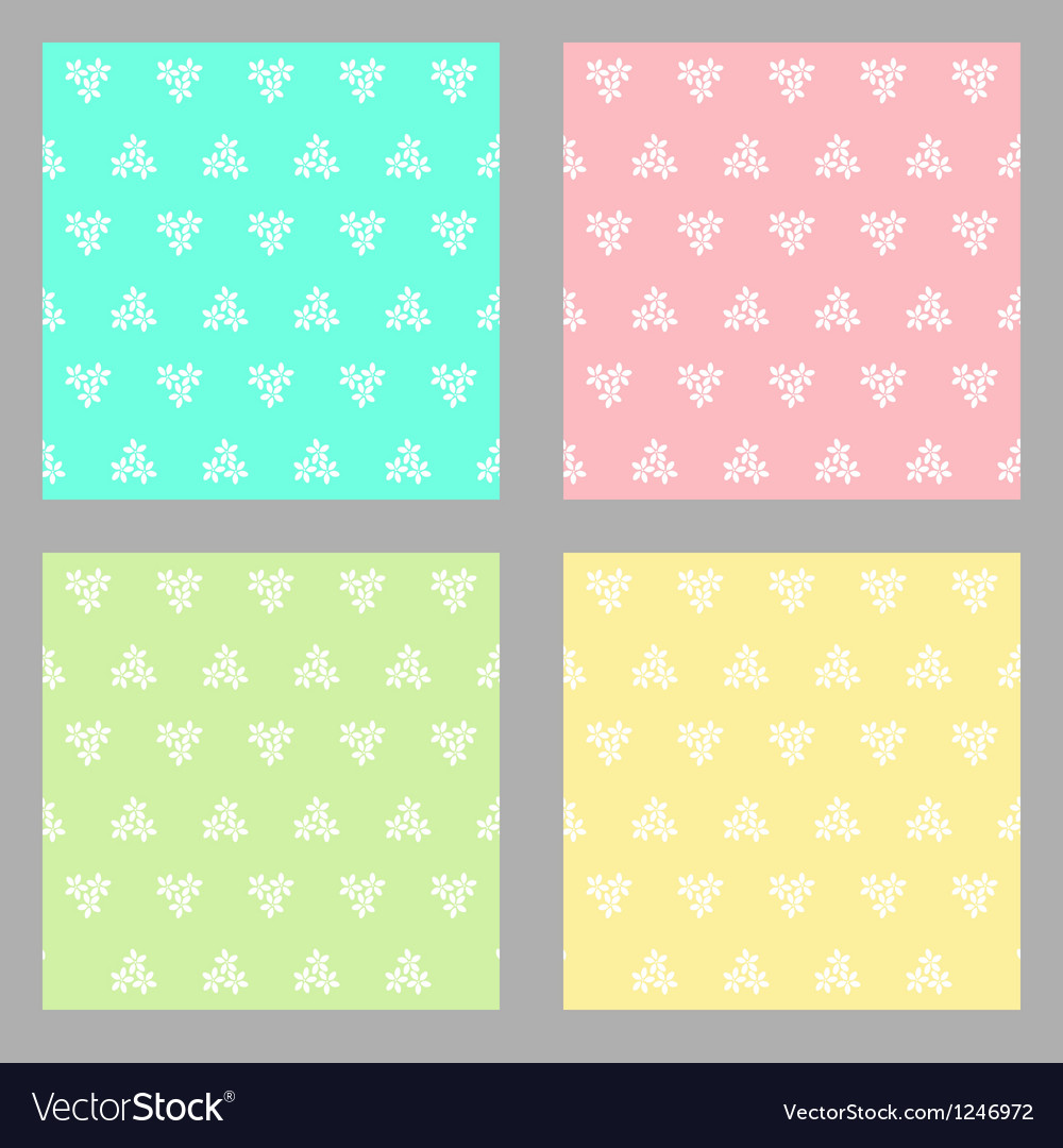 Set of four seamless flower background vector image