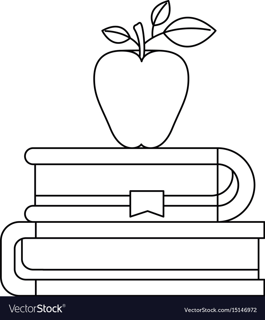 Sketch silhouette of pair of books with bookmark