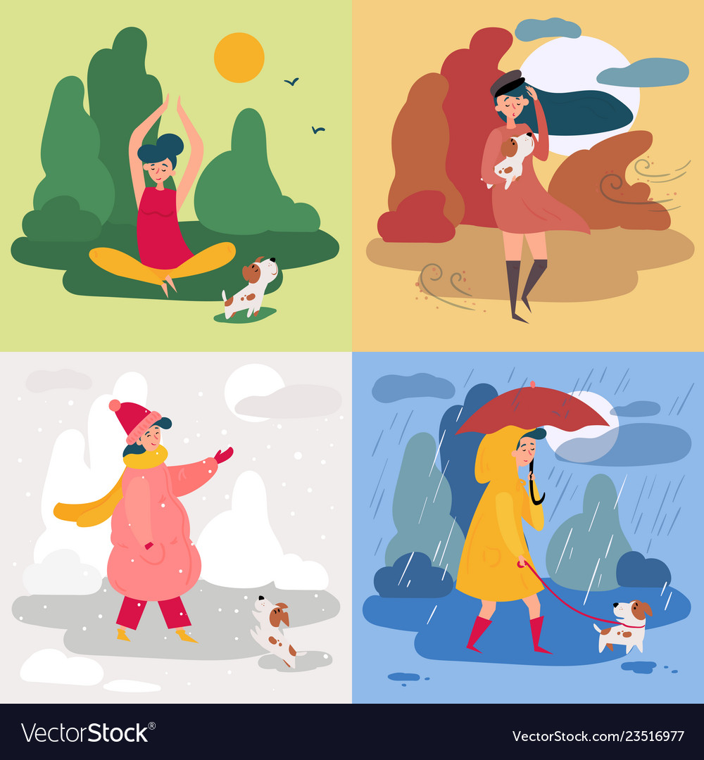 A girl and four seasons and weather snowy rainy