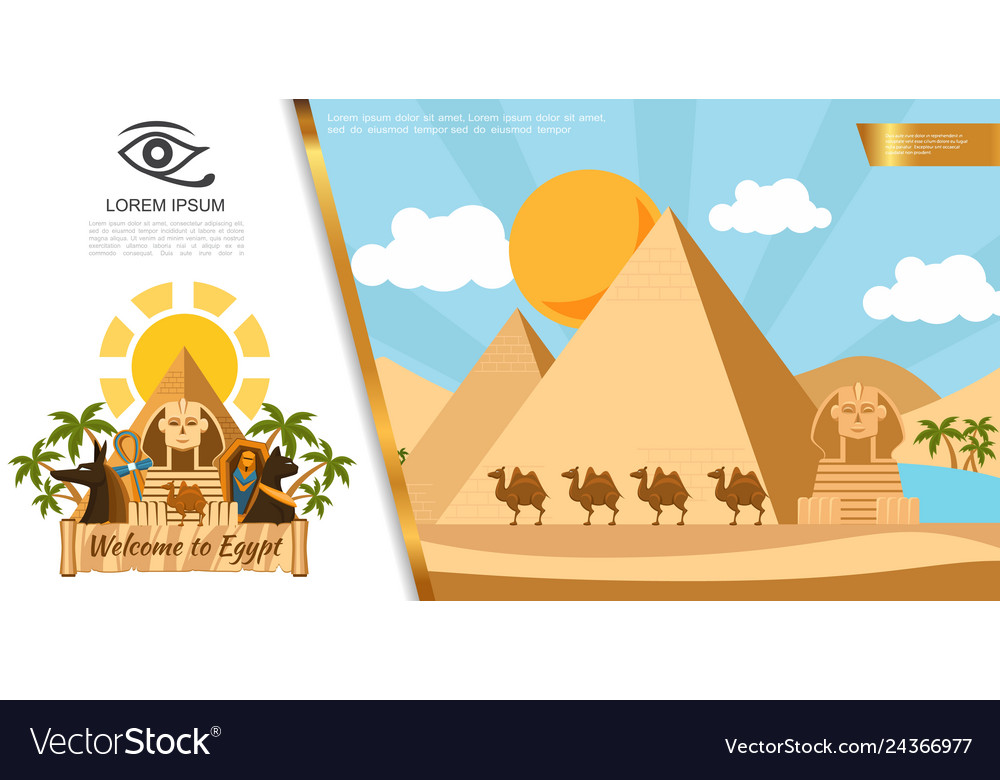 Flat egypt travel colorful template