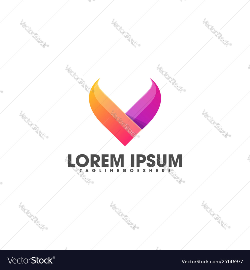 Letter v colorful template