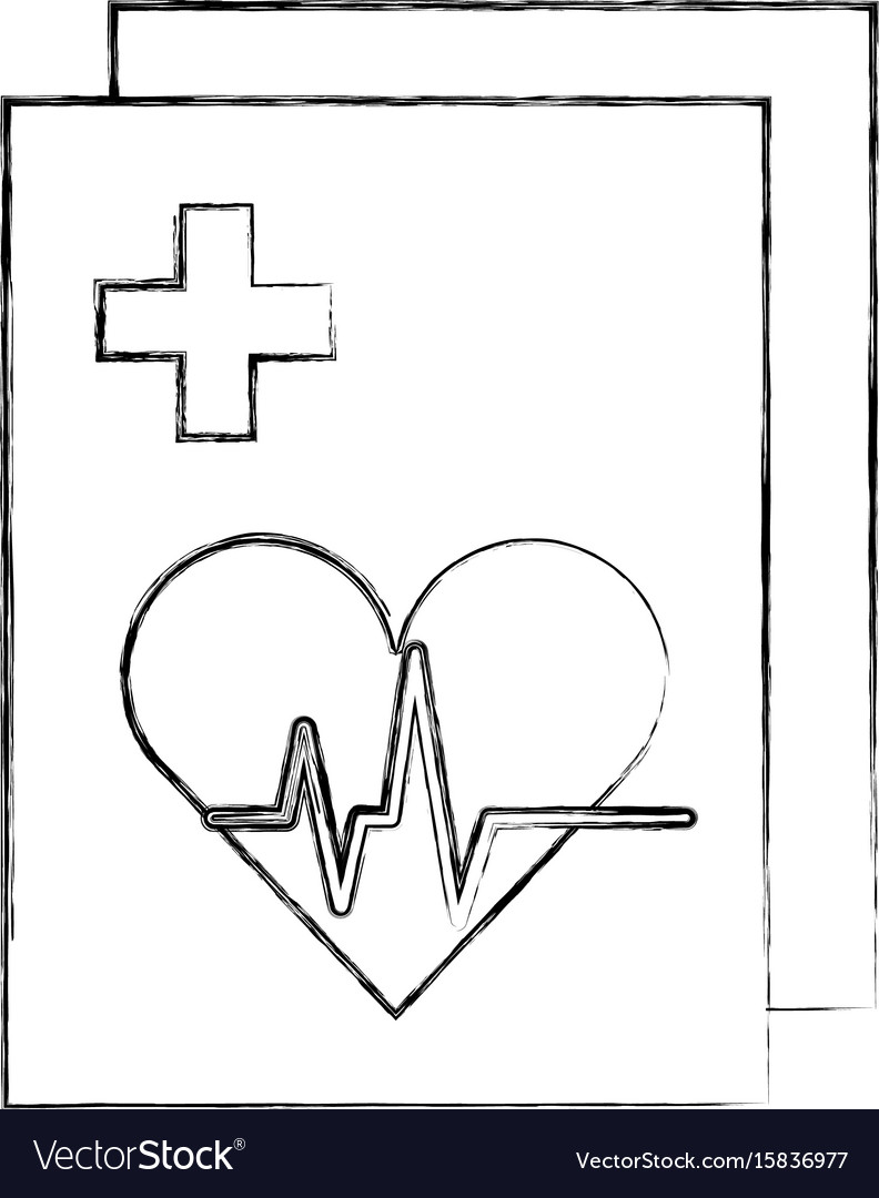 Medical order with cardiology test document icon