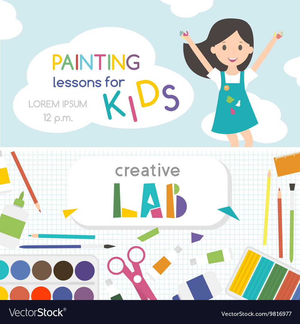 Painting Lessons Kids Creativity Lab Royalty Free Vector
