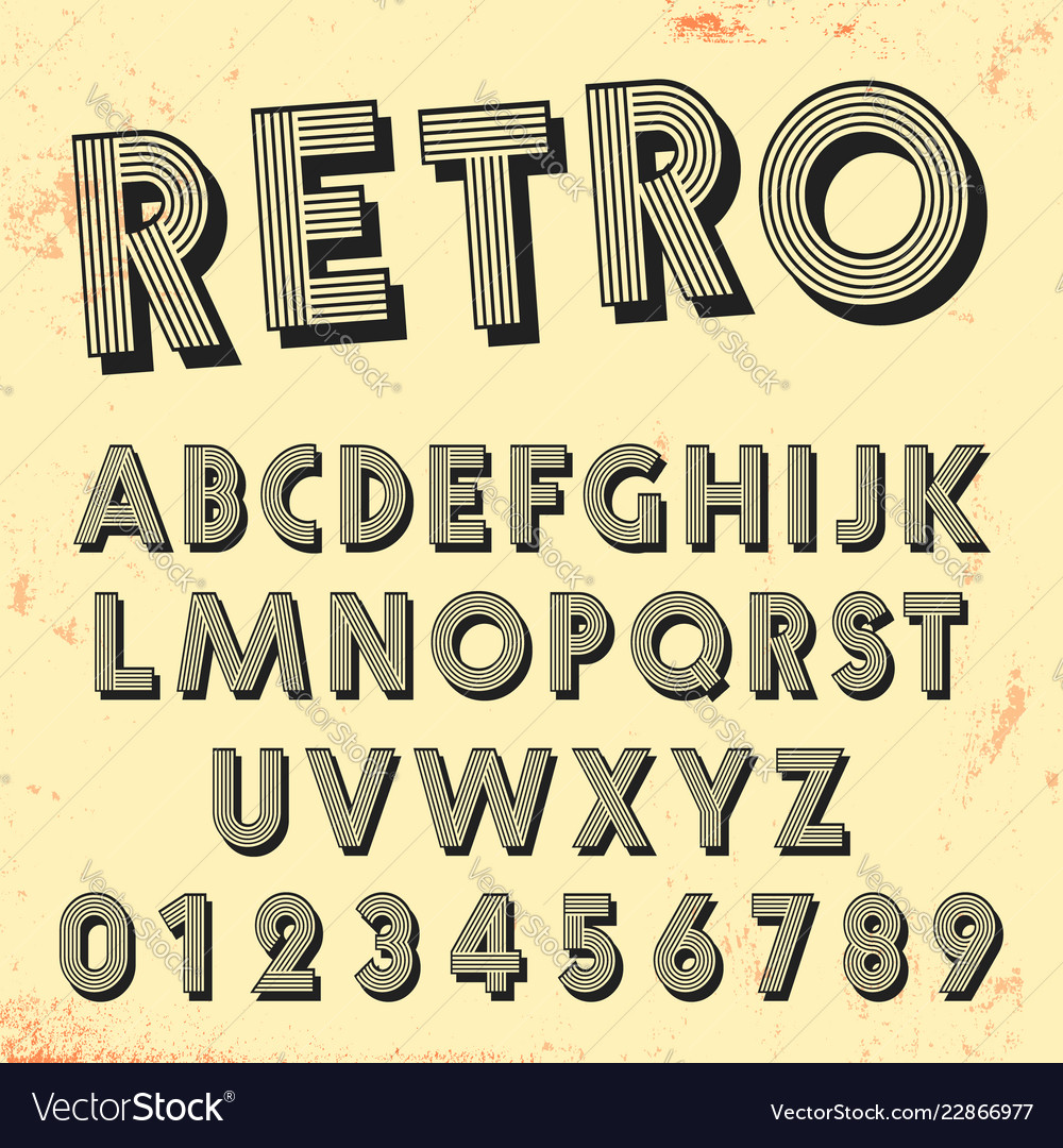 Retro line font template set of vintage letters