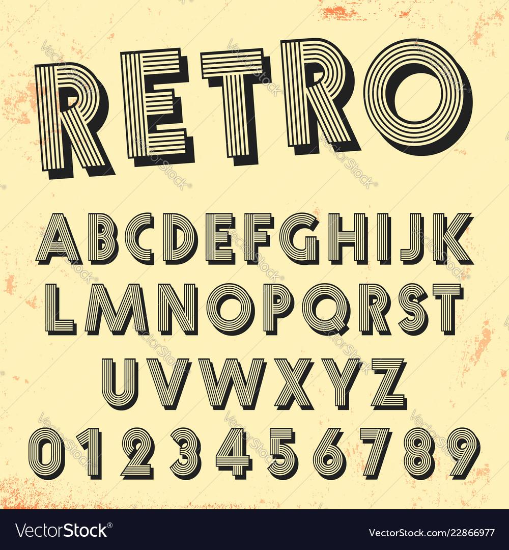 Retro line font template set vintage letters