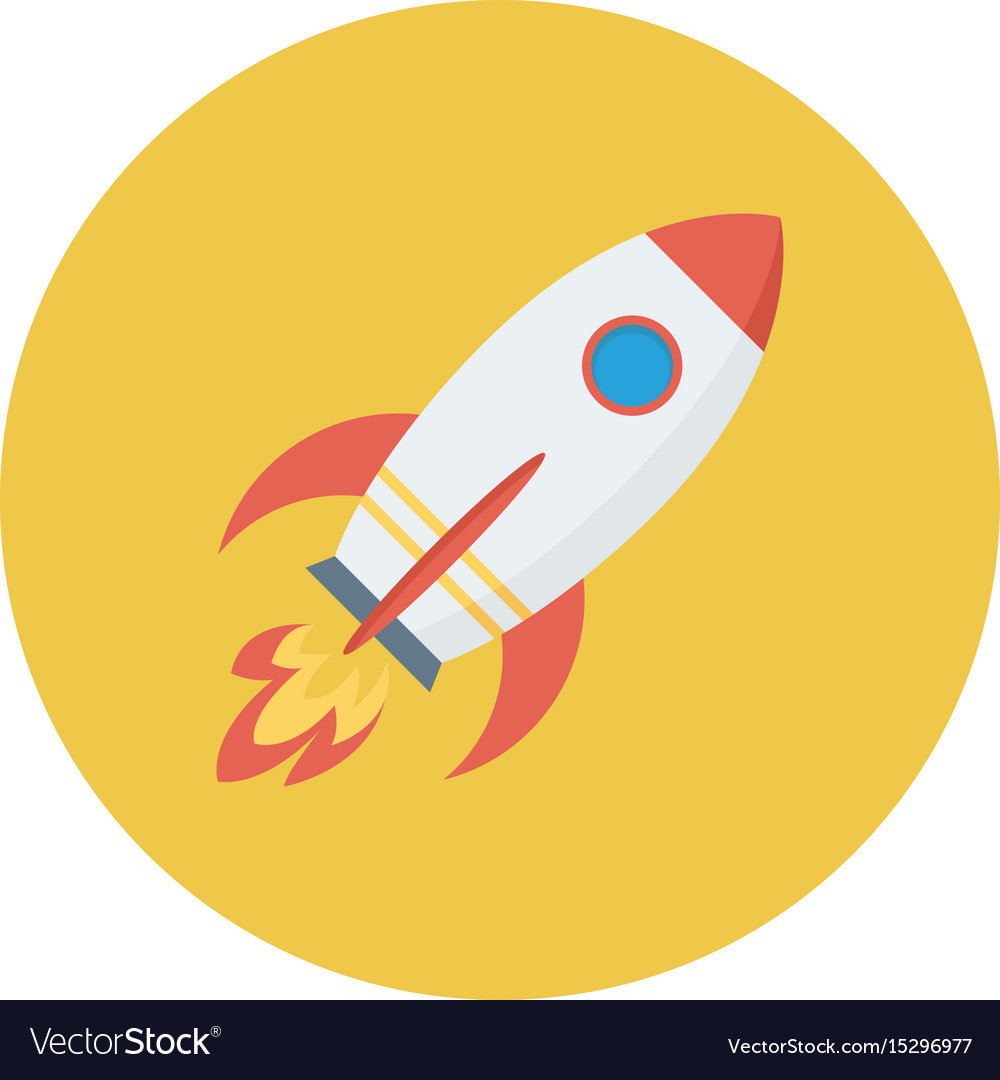 Rocket spaceship space startup launch vector image