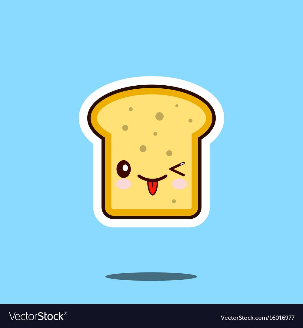 Toast kawaii cute design flat cartoon icon