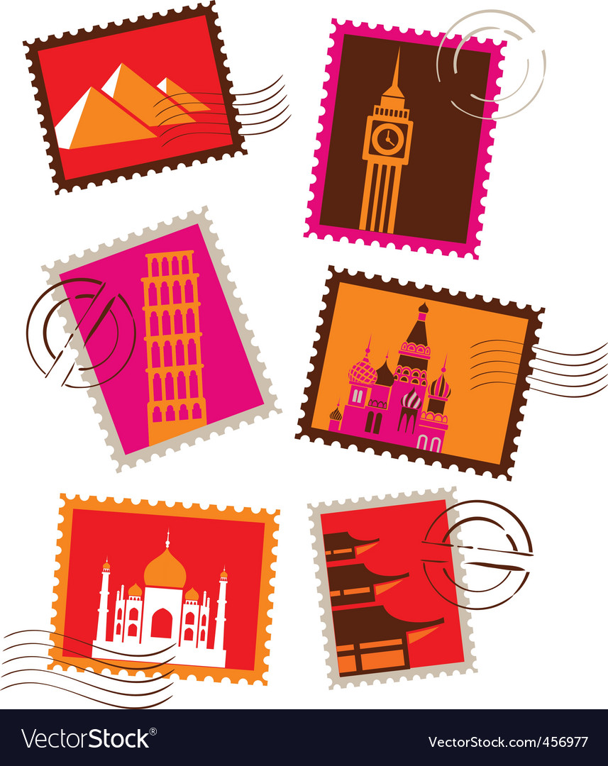 Travel and vacation stamps vector image
