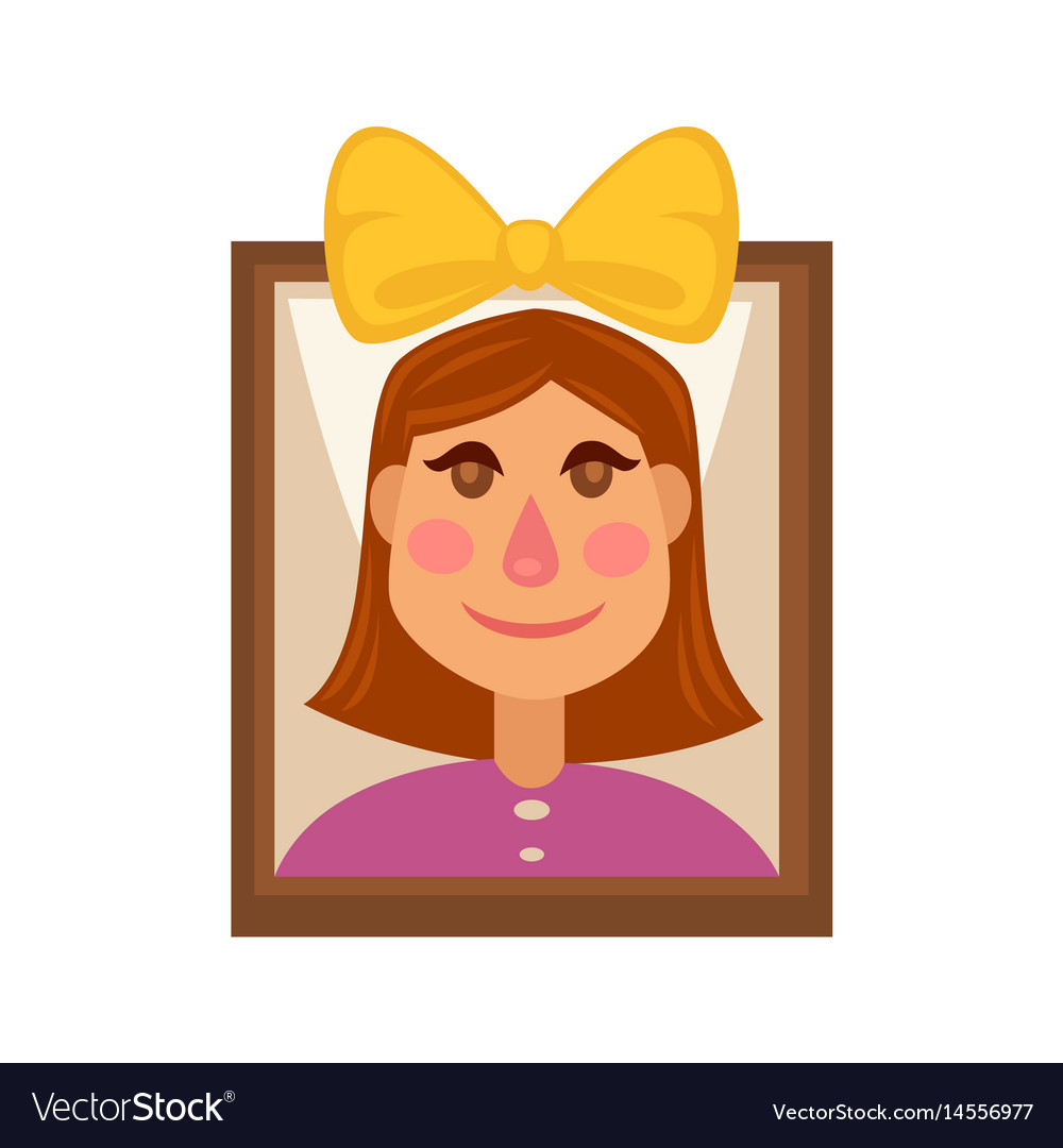 Young girl with yellow head bow on picture in