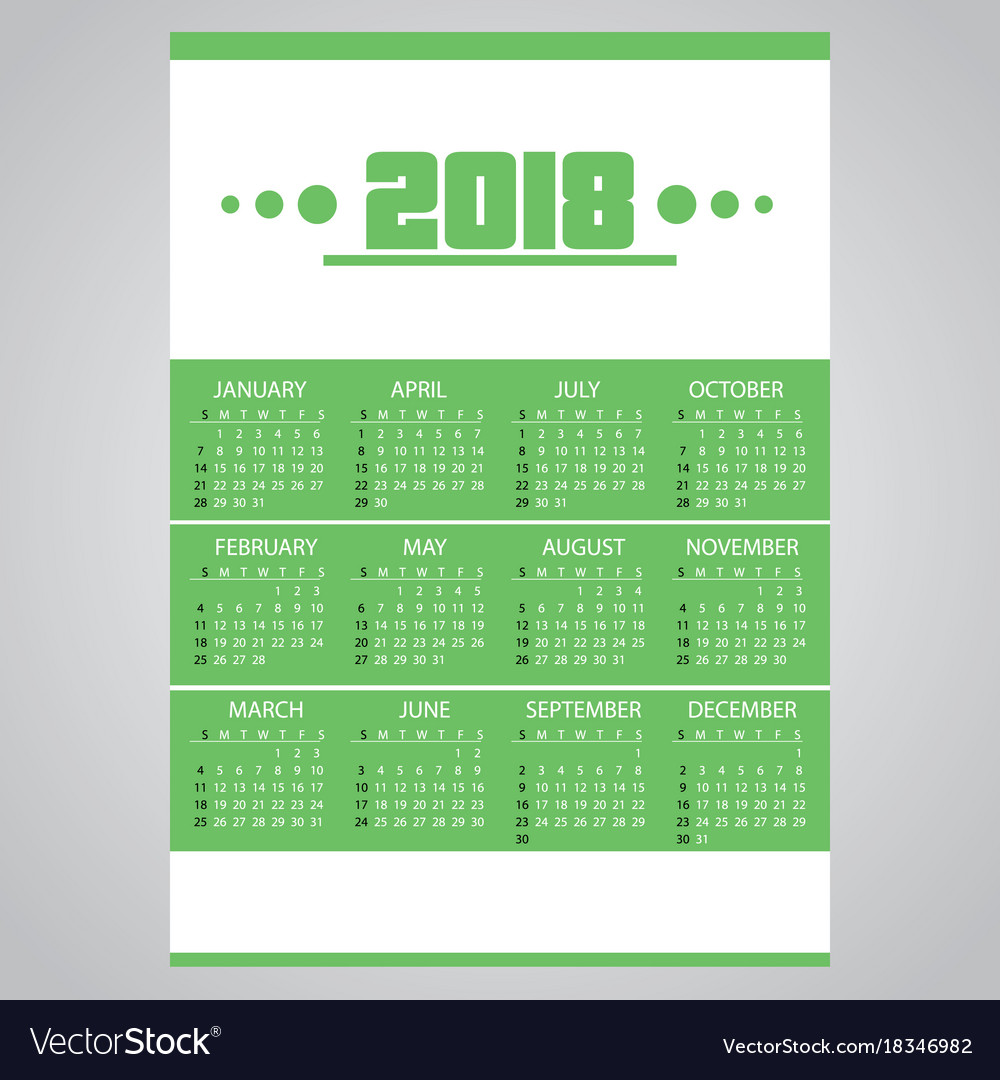 2018 simple business wall calendar green and vector image