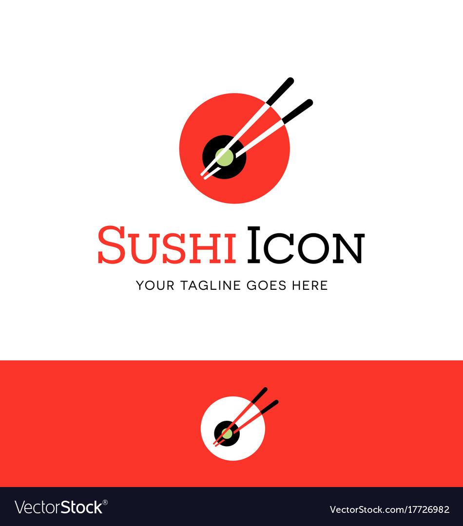 Abstract circle sushi logo with chopsticks