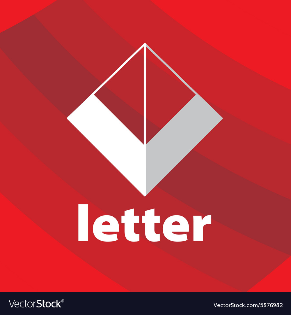 Abstract logo letter V on a red background