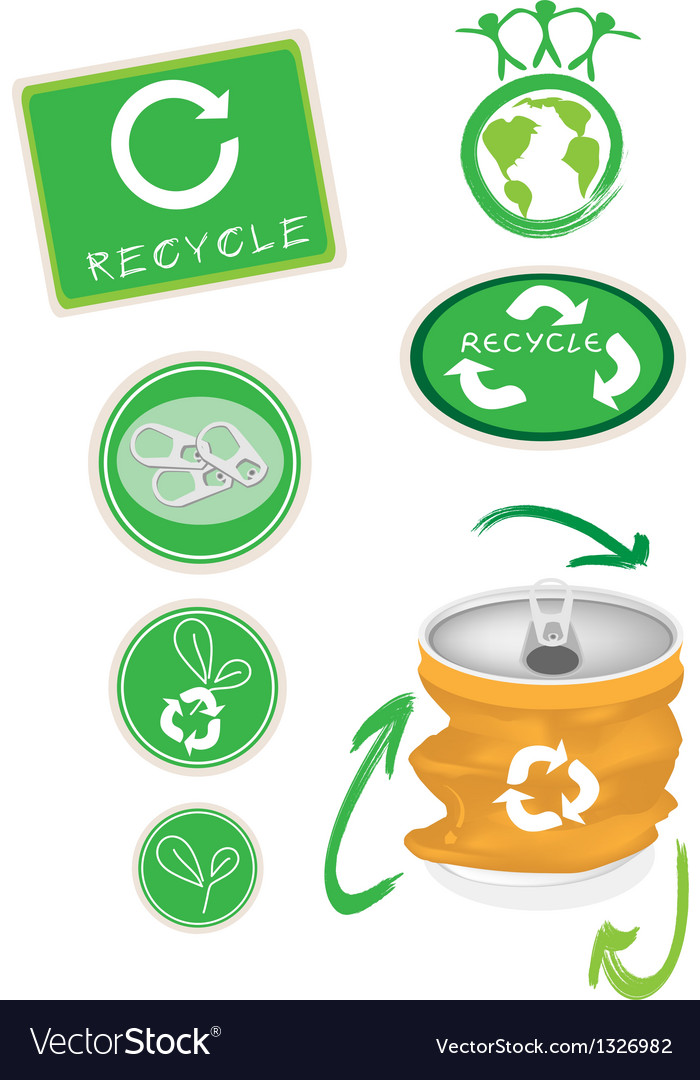 Aluminum Can With Recycle Symbol For Save World Vector Image