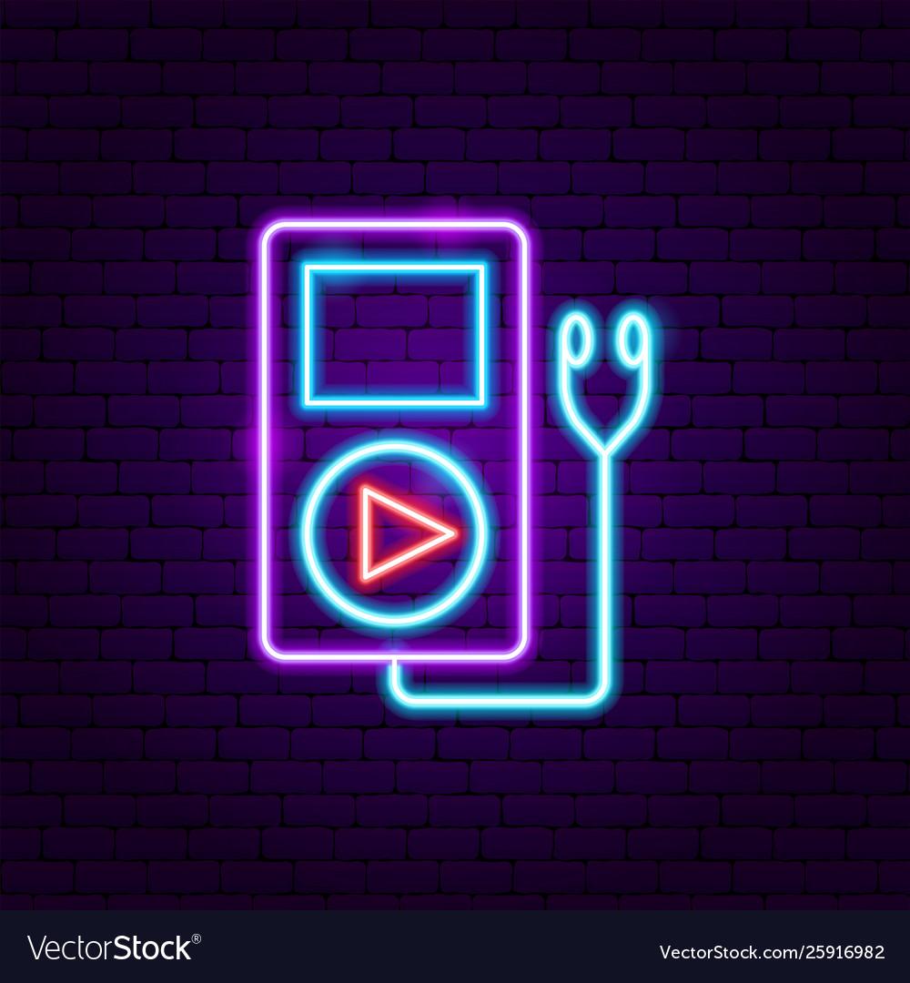 Audio player neon label