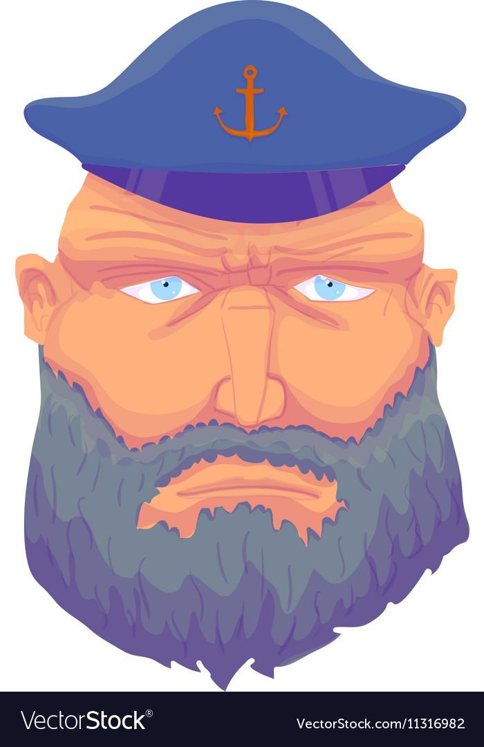 Cartoon aptain sailor face with Beard and Cap