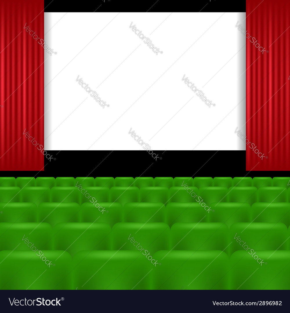 Cinema screen and green seats vector image
