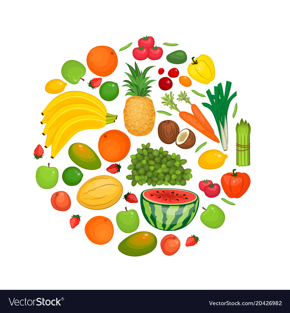 Collection of fruits and vegetables flat vector image