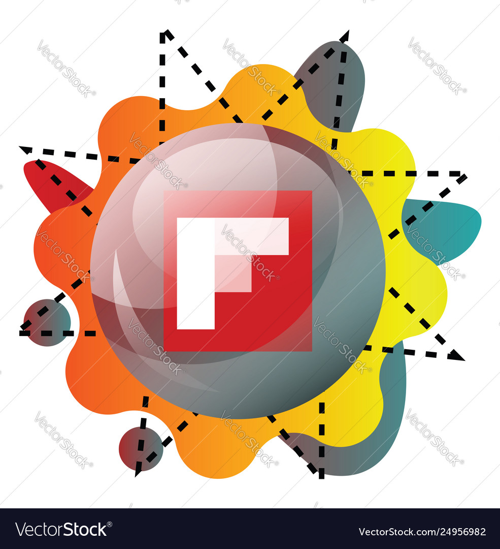 Flipboard logo inside a bubble with colorful