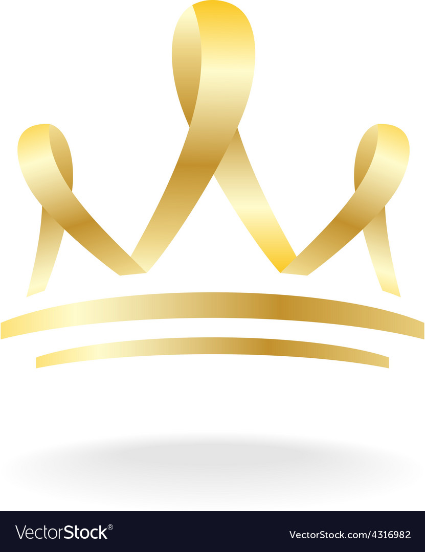 Golden ribbon crown sign vector image