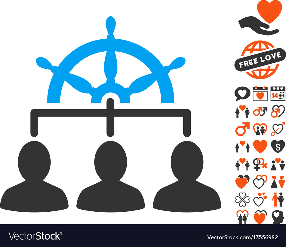 Management steering wheel icon with valentine vector image