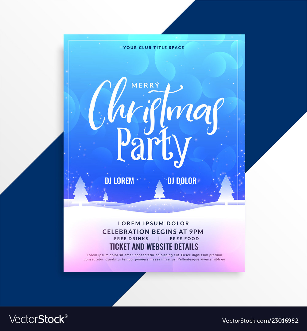 merry christmas winter scene party flyer template vector image