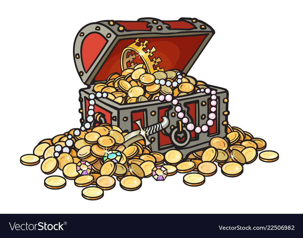 Old wooden chest full golden coins and jewelry