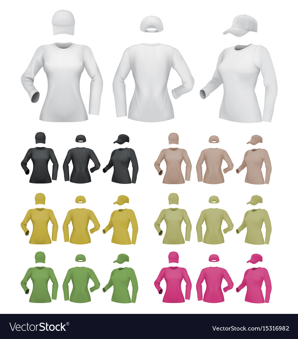 Plain female long sleeve shirt template on white