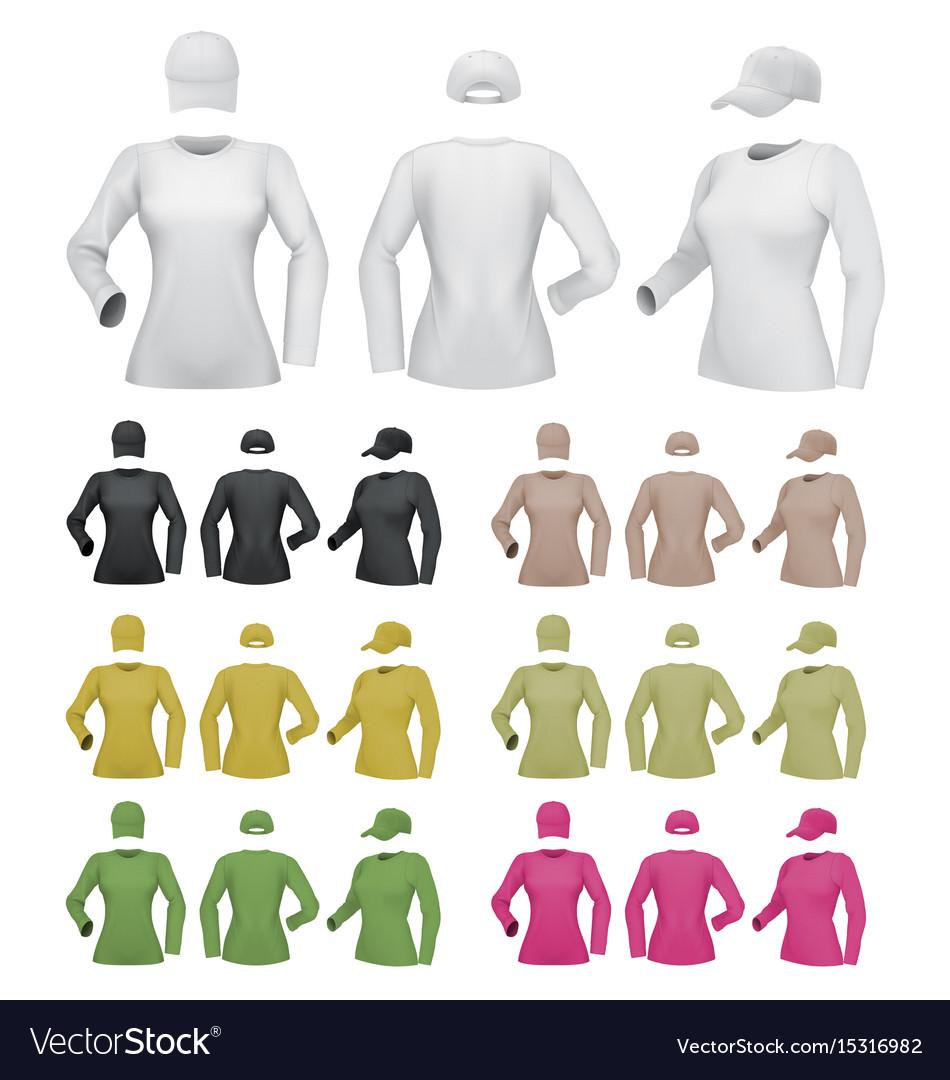 Plain female long sleeve shirt template on white vector image