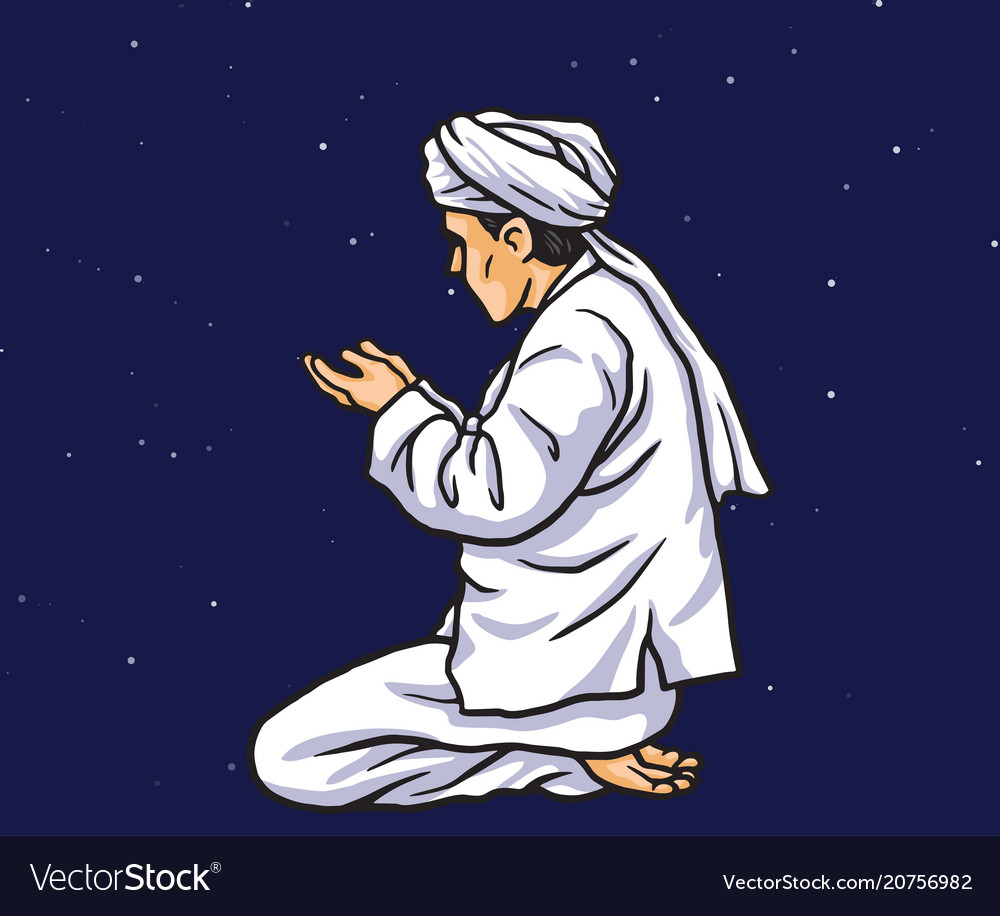 Praying in ramadan kareem with stars light
