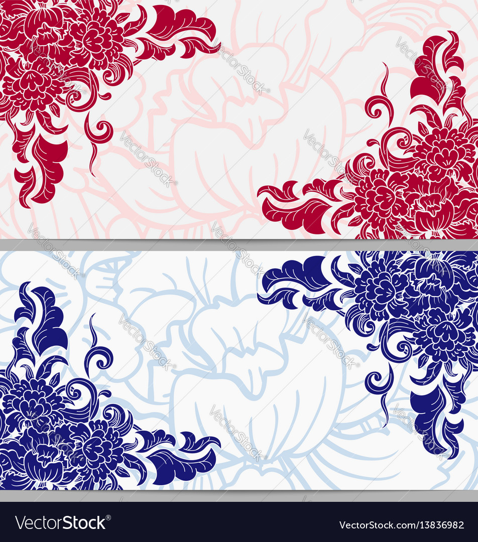 Set of horizontal cards with floral elements on