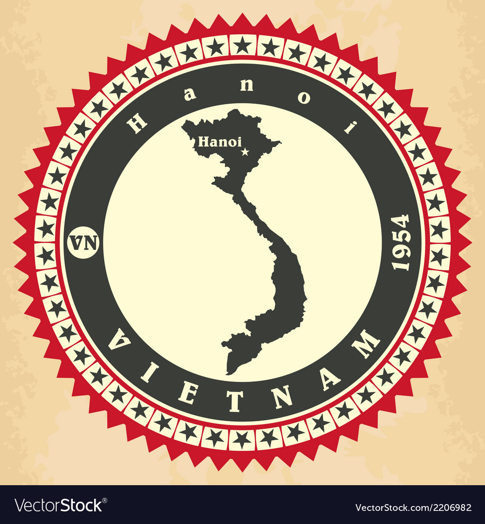 Vintage label-sticker cards of Vietnam vector image