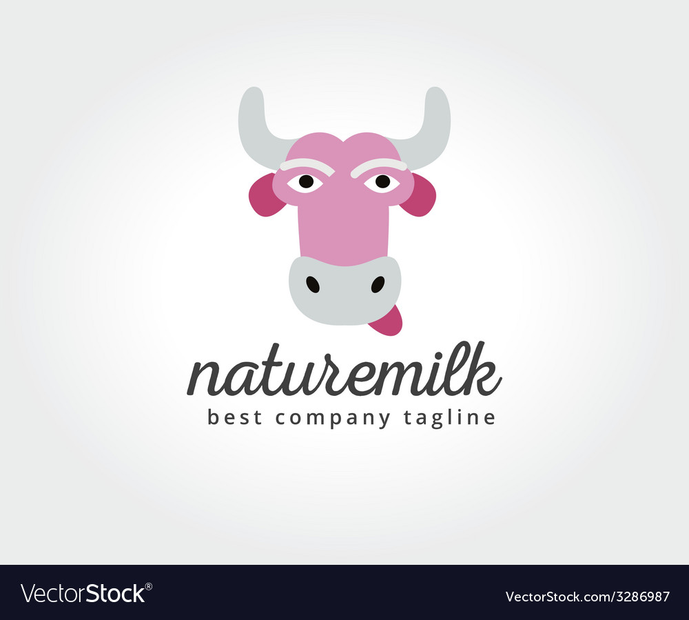 Abstract cartoon cow head logo icon concept