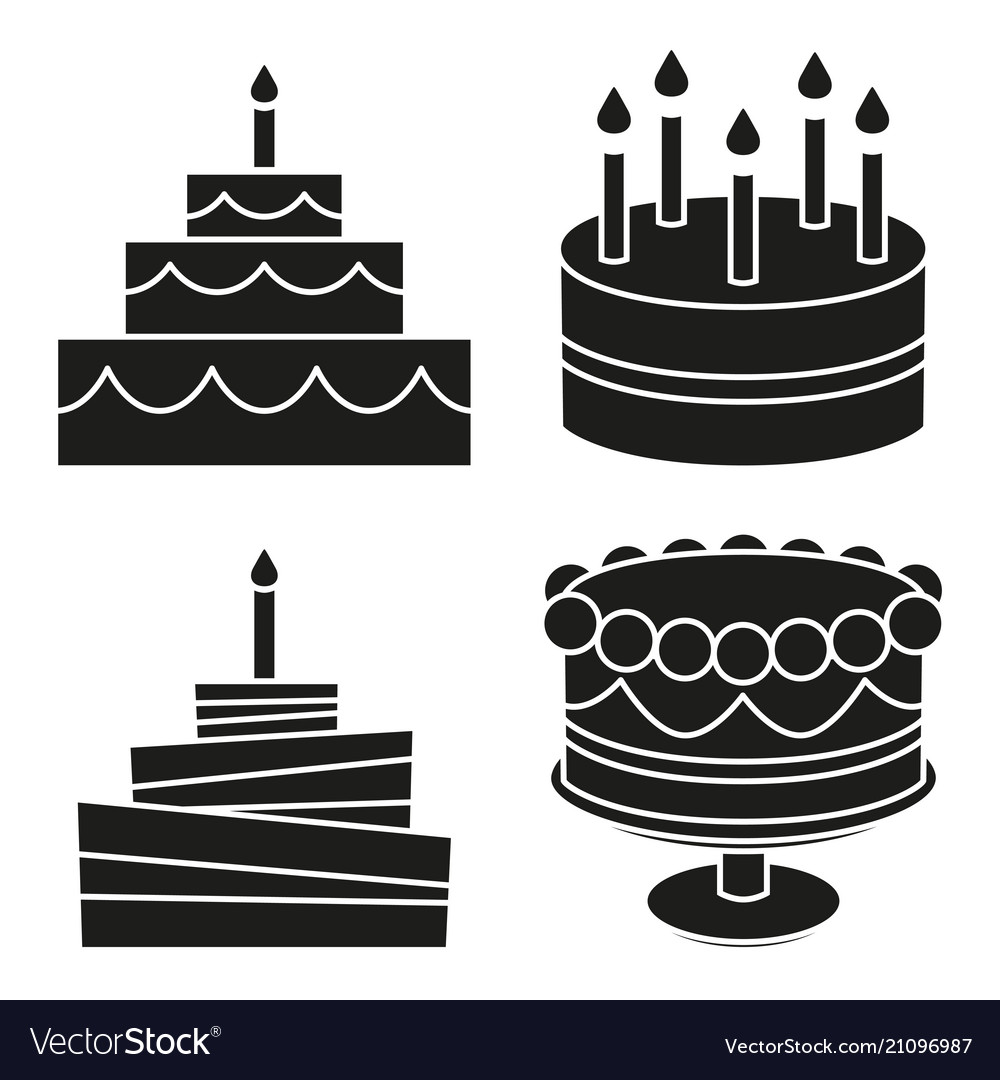 Peachy Black And White Birthday Cake Silhouette Set Vector Image Funny Birthday Cards Online Alyptdamsfinfo