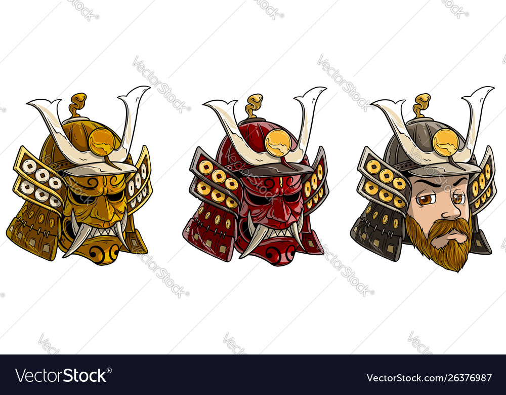 Cartoon japanese samurai helmet with scary mask