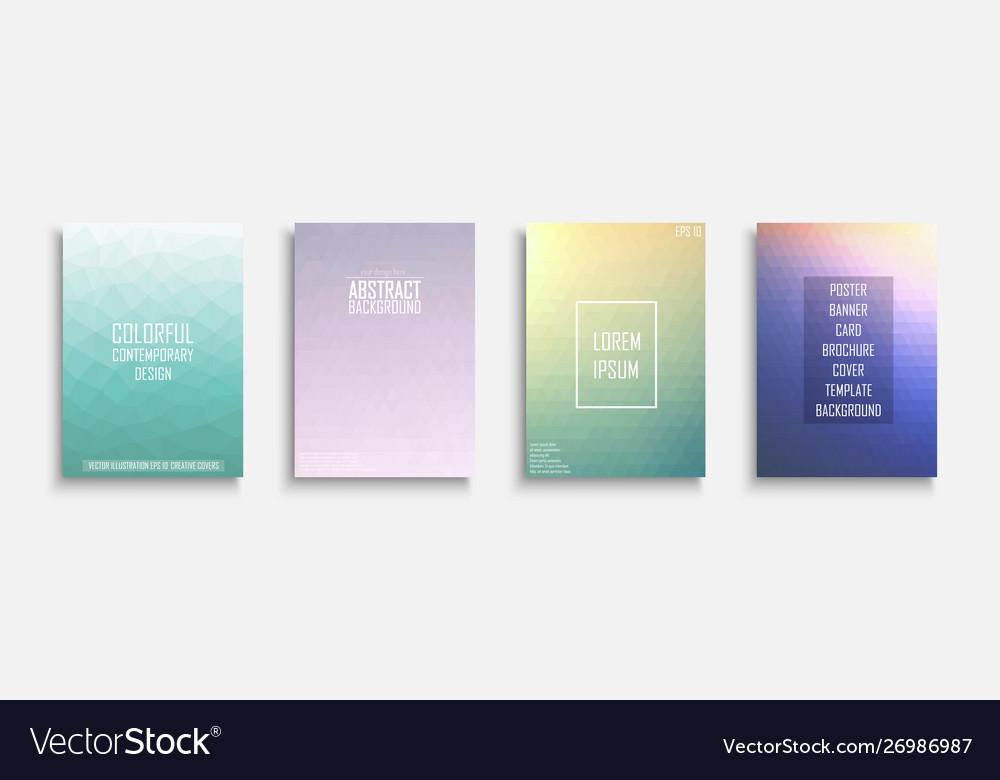 Collection bright abstract polygonal